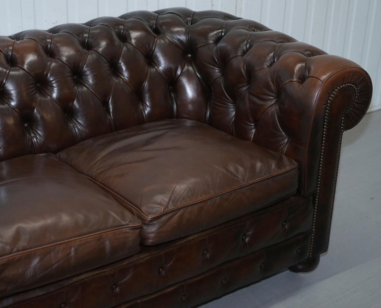 Hand-Crafted Chesterfield Brown Leather Two-Seat Sofa Coil Sprung Feather Filled Cushions  For Sale