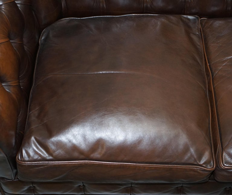 Chesterfield Brown Leather Two-Seat Sofa Coil Sprung Feather Filled Cushions  For Sale 1
