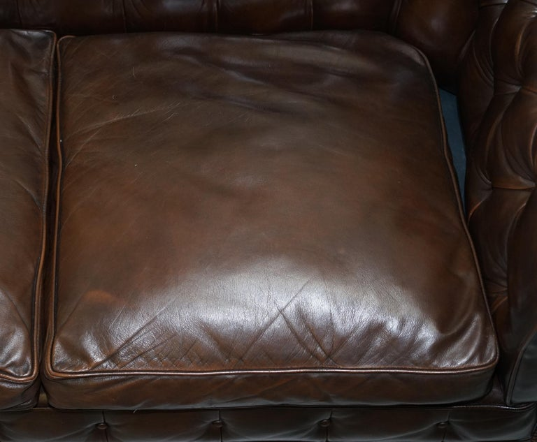 Chesterfield Brown Leather Two-Seat Sofa Coil Sprung Feather Filled Cushions  For Sale 2