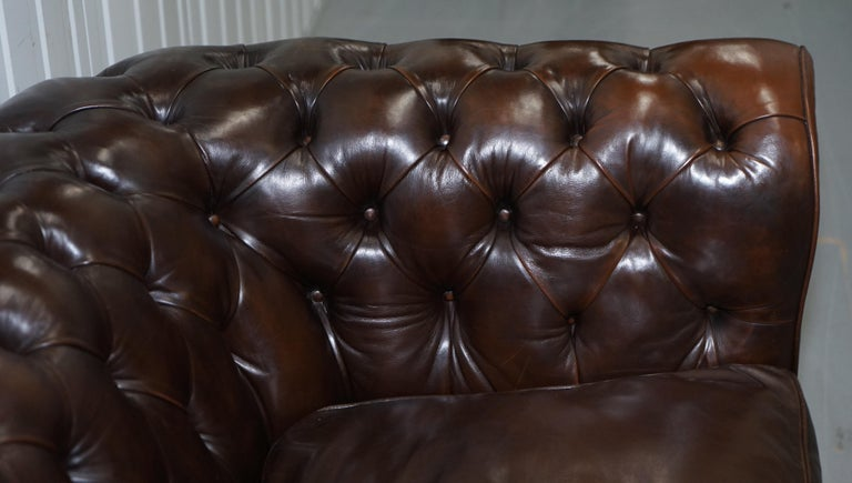 Chesterfield Brown Leather Two-Seat Sofa Coil Sprung Feather Filled Cushions  For Sale 3
