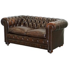 Chesterfield Brown Leather Two-Seat Sofa Coil Sprung Feather Filled Cushions