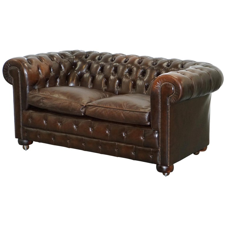 Chesterfield Brown Leather Two-Seat Sofa Coil Sprung Feather Filled Cushions  For Sale