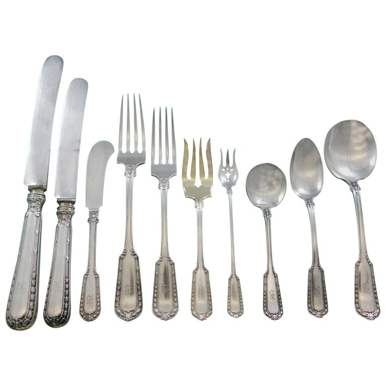 Chesterfield by Gorham Sterling Silver Flatware Set 8 Service 117 Pcs B Monogram For Sale
