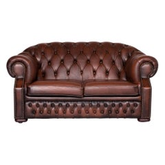 Chesterfield Centurion Designer Leather Sofa Brown Two-Seat Couch
