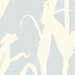 Chesterfield-Corn Silhouette Wallpaper in Sky Blue and Cream
