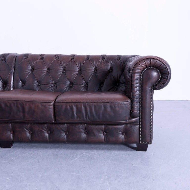 Chesterfield Corner Sofa Brown Leather Couch Vintage Rivets at 1stdibs
