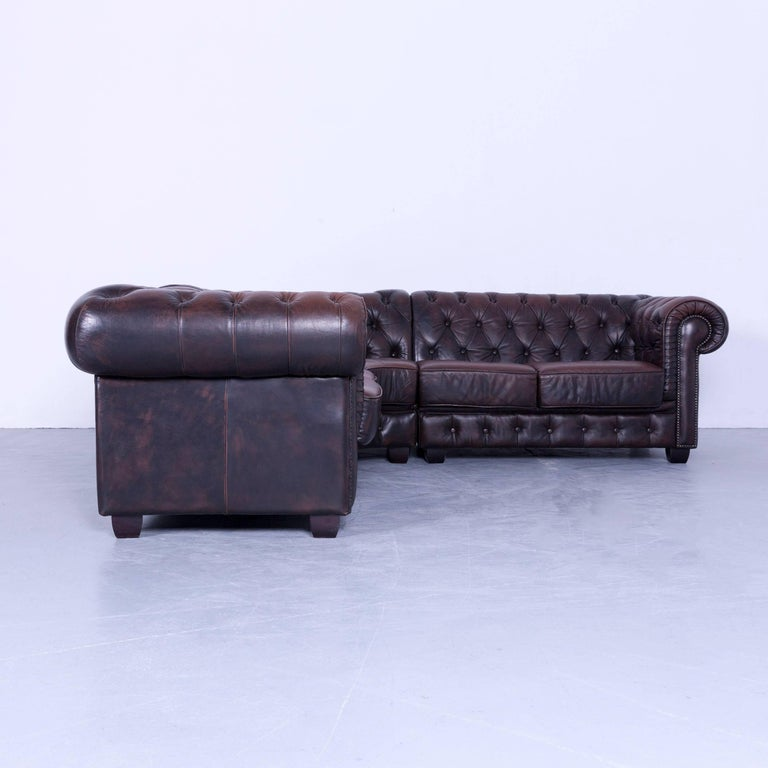 Corner Chesterfield Sofa Sale: Chesterfield Corner Sofa Set And Club Chaior Brown Leather
