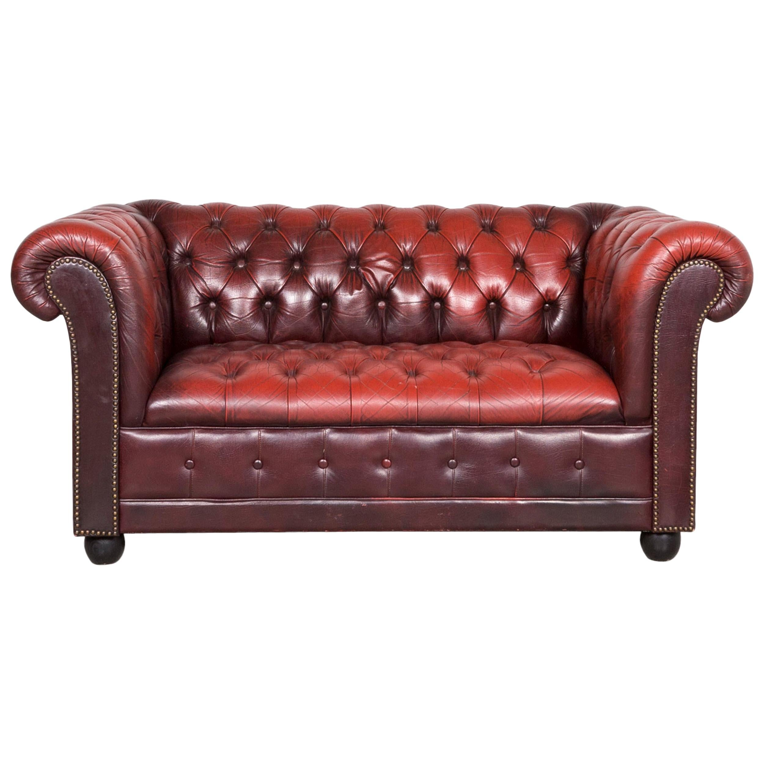 Chesterfield Leather Sofa Oxblood Red Three-Seat Couch Retro Vintage