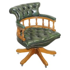 Chesterfield Directors Green Leather and Oak Executive Captains Office Chair
