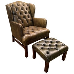 Chesterfield Green Leather Wingback Georgian H-Framed Armchair and Footstool