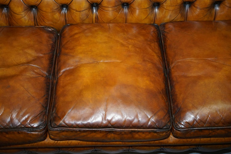 Chesterfield Hand Dyed Brown Leather Sofa Coil Sprung Feather Filled Cushions For Sale 3