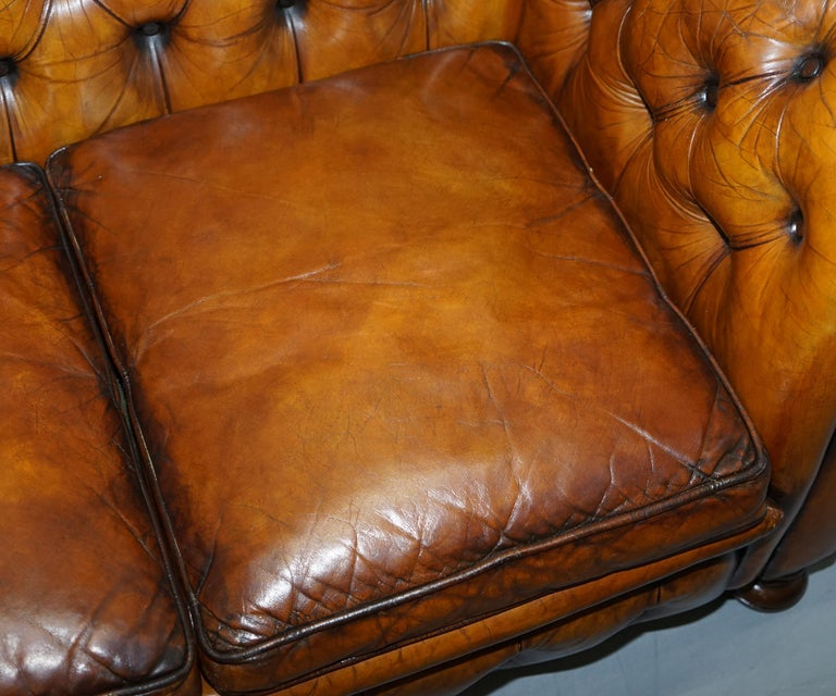Chesterfield Hand Dyed Brown Leather Sofa Coil Sprung Feather Filled Cushions For Sale 4