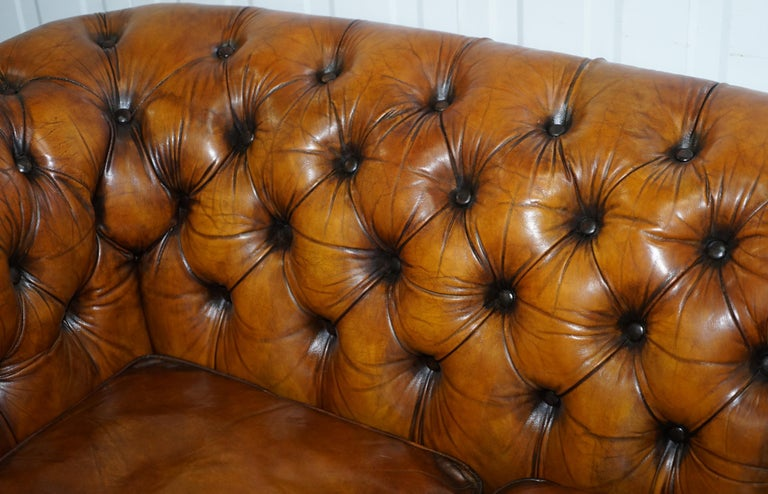 Chesterfield Hand Dyed Brown Leather Sofa Coil Sprung Feather Filled Cushions For Sale 5