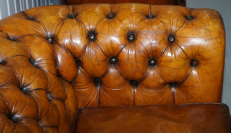 Chesterfield Hand Dyed Brown Leather Sofa Coil Sprung Feather Filled Cushions For Sale 6