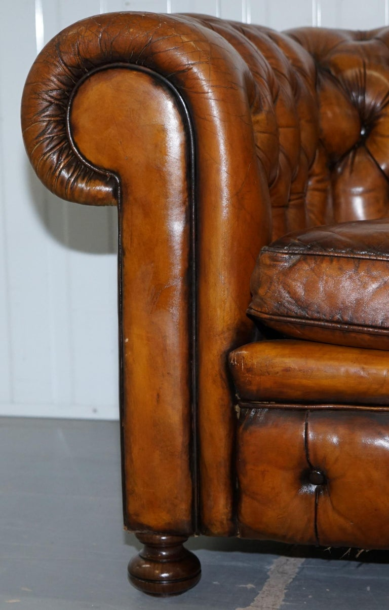 Chesterfield Hand Dyed Brown Leather Sofa Coil Sprung Feather Filled Cushions For Sale 7