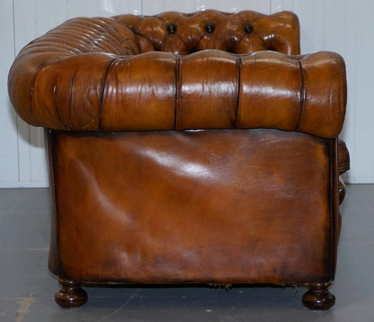 Chesterfield Hand Dyed Brown Leather Sofa Coil Sprung Feather Filled Cushions For Sale 8