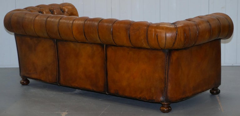Chesterfield Hand Dyed Brown Leather Sofa Coil Sprung Feather Filled Cushions For Sale 9