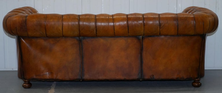 Chesterfield Hand Dyed Brown Leather Sofa Coil Sprung Feather Filled Cushions For Sale 10