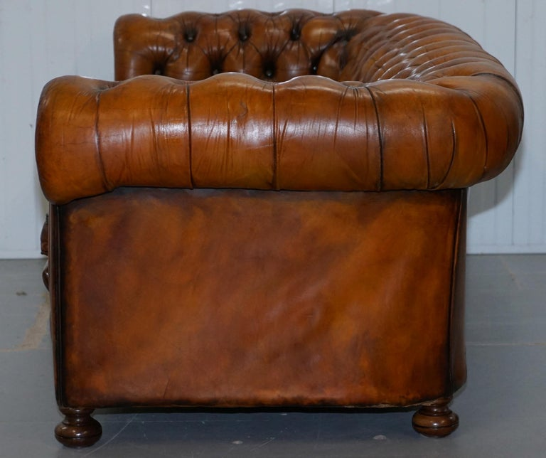Chesterfield Hand Dyed Brown Leather Sofa Coil Sprung Feather Filled Cushions For Sale 11
