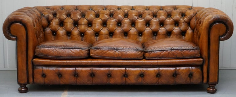 Victorian Chesterfield Hand Dyed Brown Leather Sofa Coil Sprung Feather Filled Cushions For Sale