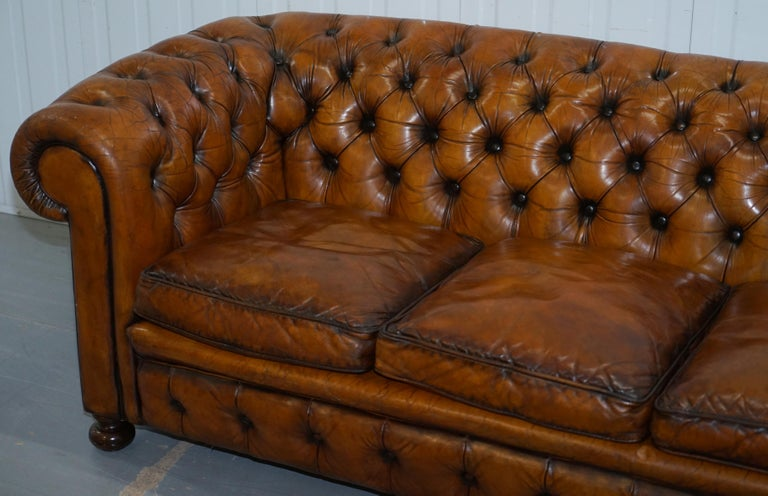 English Chesterfield Hand Dyed Brown Leather Sofa Coil Sprung Feather Filled Cushions For Sale