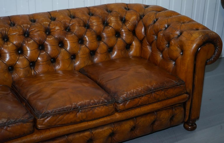 Hand-Crafted Chesterfield Hand Dyed Brown Leather Sofa Coil Sprung Feather Filled Cushions For Sale
