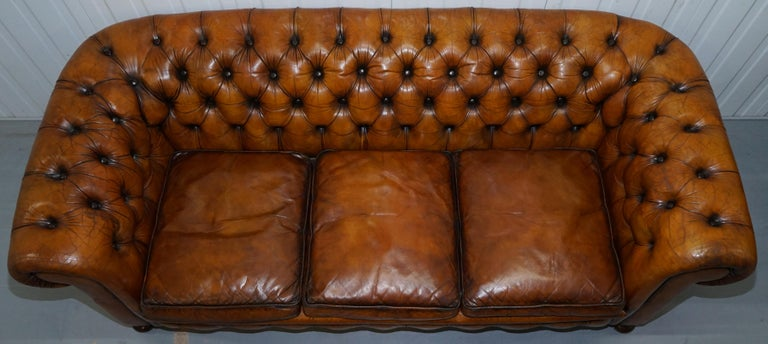 Chesterfield Hand Dyed Brown Leather Sofa Coil Sprung Feather Filled Cushions In Good Condition For Sale In London, GB