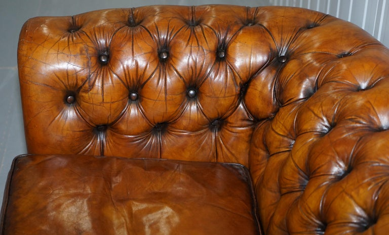 20th Century Chesterfield Hand Dyed Brown Leather Sofa Coil Sprung Feather Filled Cushions For Sale