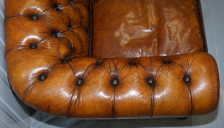 Chesterfield Hand Dyed Brown Leather Sofa Coil Sprung Feather Filled Cushions For Sale 1