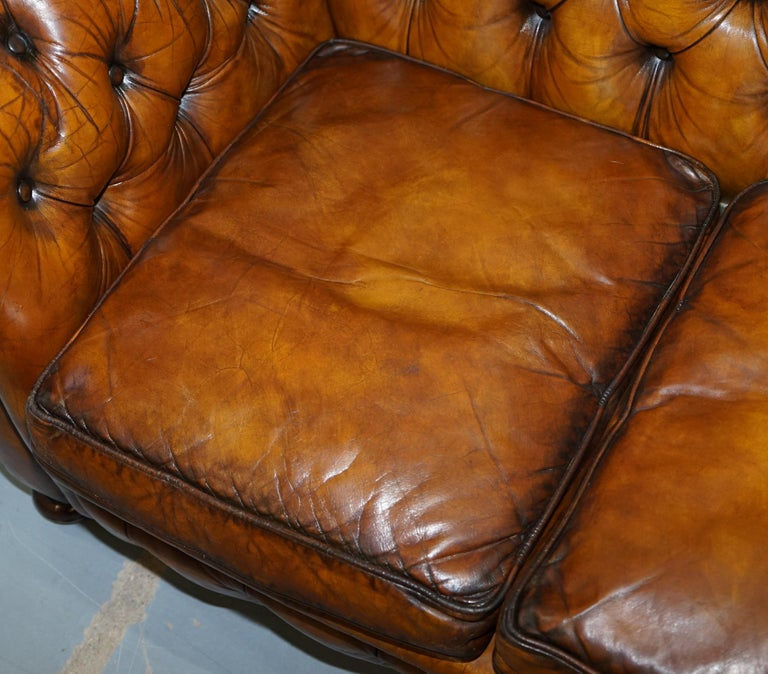 Chesterfield Hand Dyed Brown Leather Sofa Coil Sprung Feather Filled Cushions For Sale 2