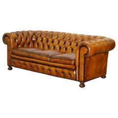 Chesterfield Hand Dyed Brown Leather Sofa Coil Sprung Feather Filled Cushions