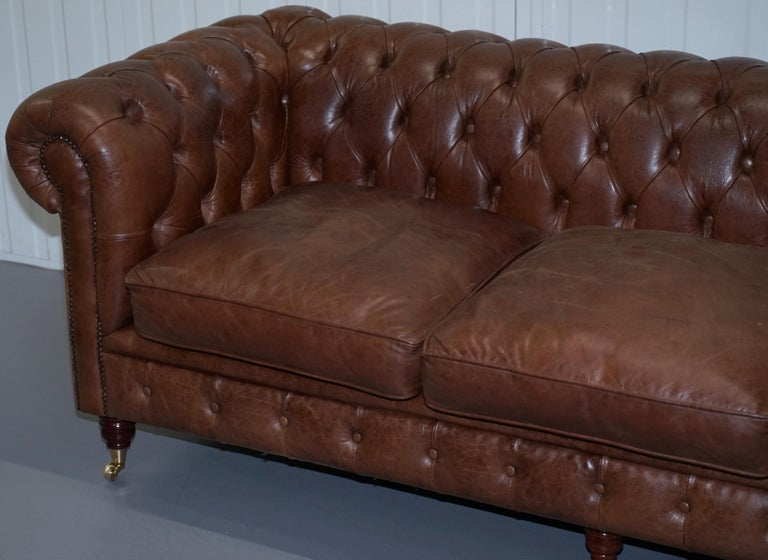 CHESTERFIELD HERITAGE BROWN LEATHER SOFAS & ARMCHAIR SUITE 2-3 3-4 SEATER  SOFAs