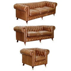 Chesterfield Heritage Brown Leather Sofas & Armchair Suite 2-3 3-4 Seat Sofas