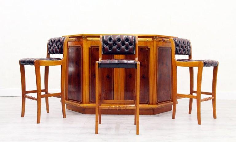 Chesterfield Home Bar Stool Leather Chair Cellar Bar