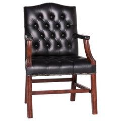 Chesterfield Leather Armchair Black Chair