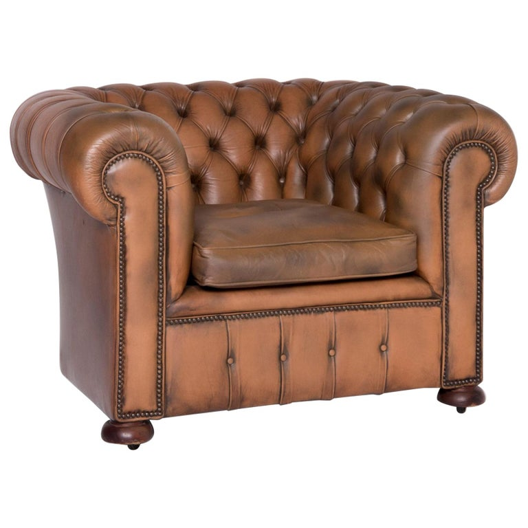 Fine Chesterfield Leather Armchair Brown Genuine Leather Chair Vintage Retro Dailytribune Chair Design For Home Dailytribuneorg