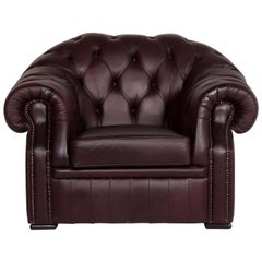 Chesterfield Leather Armchair Brown Purple Retro