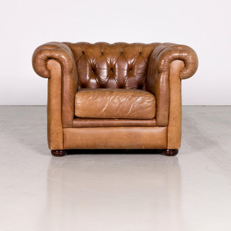 Chesterfield Leather Armchair Brown Red Vintage For Sale ...