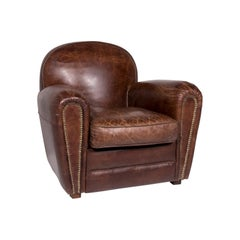 Chesterfield Leather Armchair Brown Retro