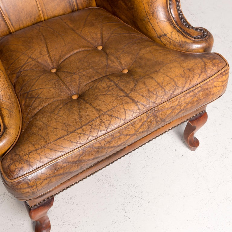 British Chesterfield Leather Armchair Brown Vintage Retro