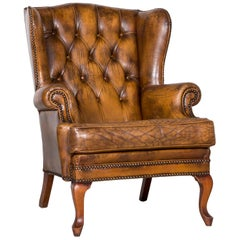 Chesterfield Leather Armchair Brown Vintage Retro