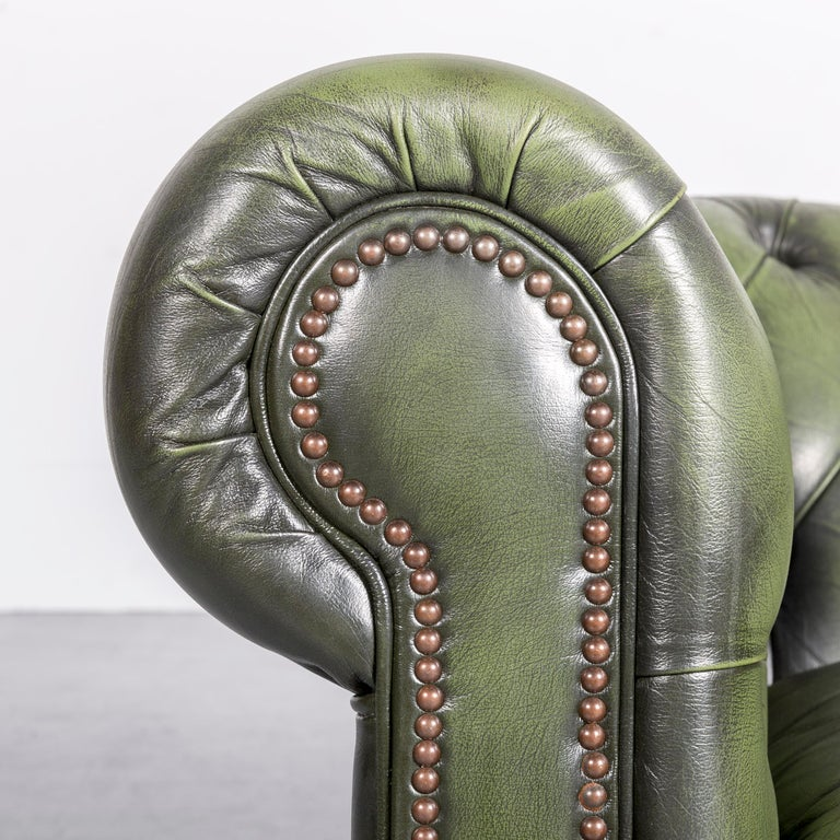 Chesterfield Leather Armchair Green One-Seat Club-Chair In Good Condition In Cologne, DE