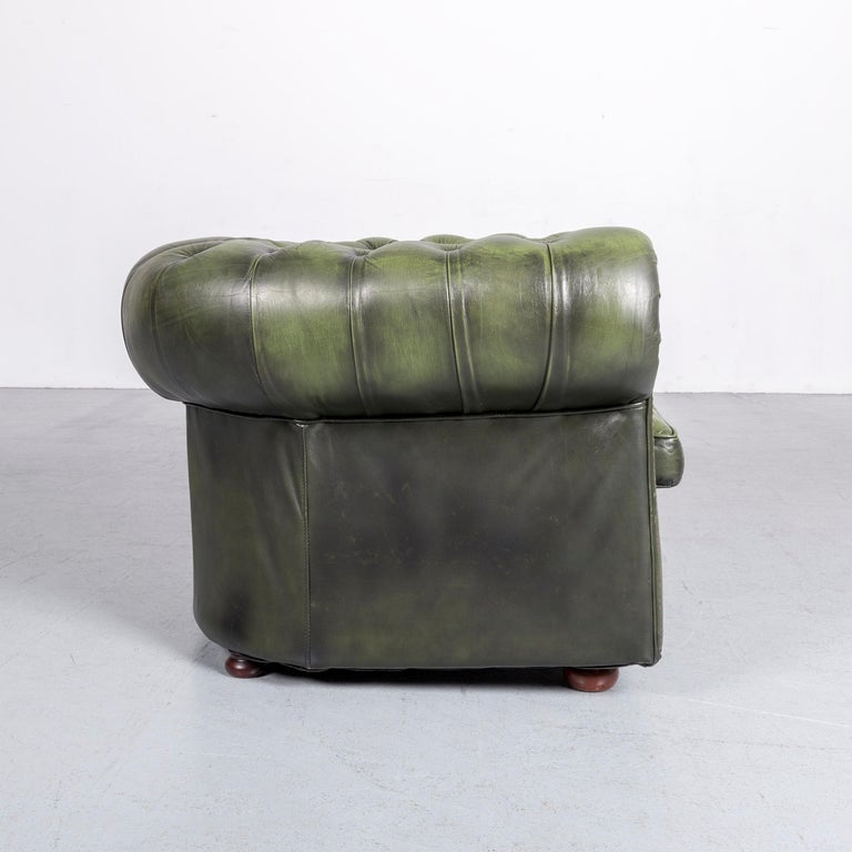 Chesterfield Leather Armchair Green One-Seat Club-Chair 2