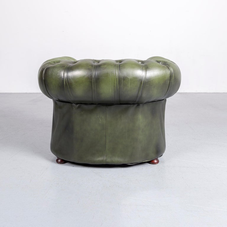 Chesterfield Leather Armchair Green One-Seat Club-Chair 3