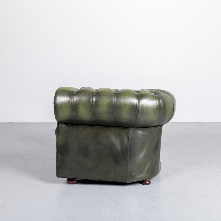 Chesterfield Leather Armchair Green One-Seat Club-Chair 4