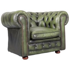 Chesterfield Leather Armchair Green One-Seat Club-Chair