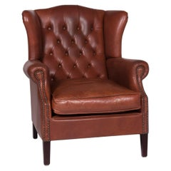 Chesterfield Leather Armchair Red Brown Retro