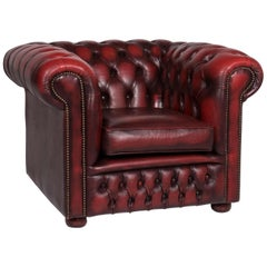 Chesterfield Leather Armchair Red Wine Red Retro