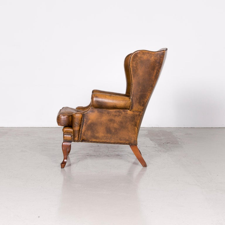Chesterfield Leather Armchair Set Brown Vintage Retro  5