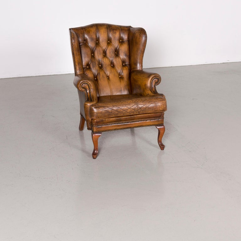 Chesterfield Leather Armchair Set Brown Vintage Retro  7